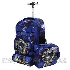 "Набор чемодан - рюкзак детский на колесах + термо-сумка + пенал ""Космонавт"""