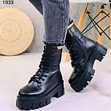 Женские ботинки ЗИМА черные на шнуровке натуральная кожа, фото 8