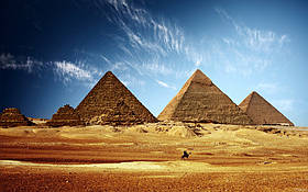 """Картина на стекле """"Пирамиды в пустыне"""""""