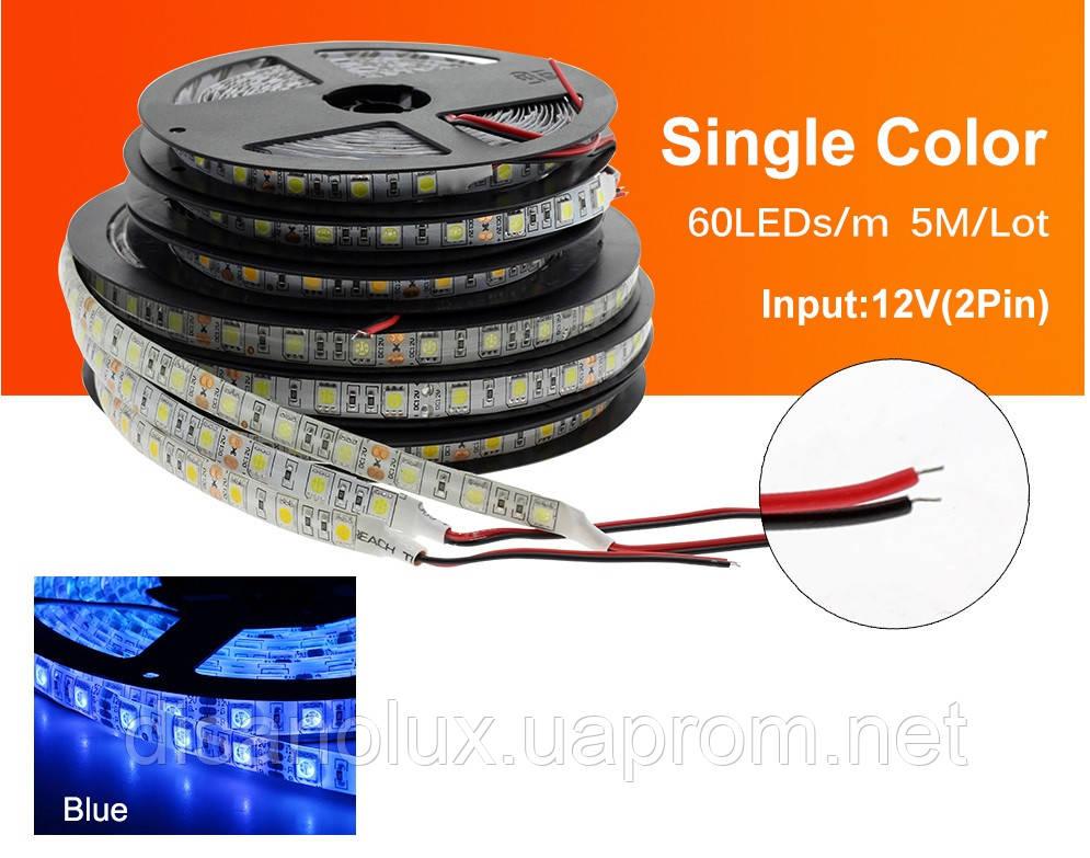 Светодиодная  LED лента  SMD 5050 60LED/m 14,4W/m  синий 12V  IP65  5м
