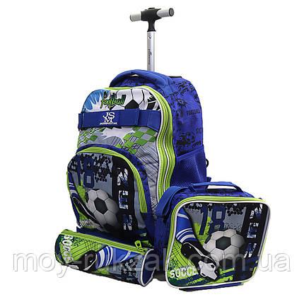 "Набор детский чемодан - рюкзак на колесах + термо-сумка + пенал ""Soccer"", фото 2"
