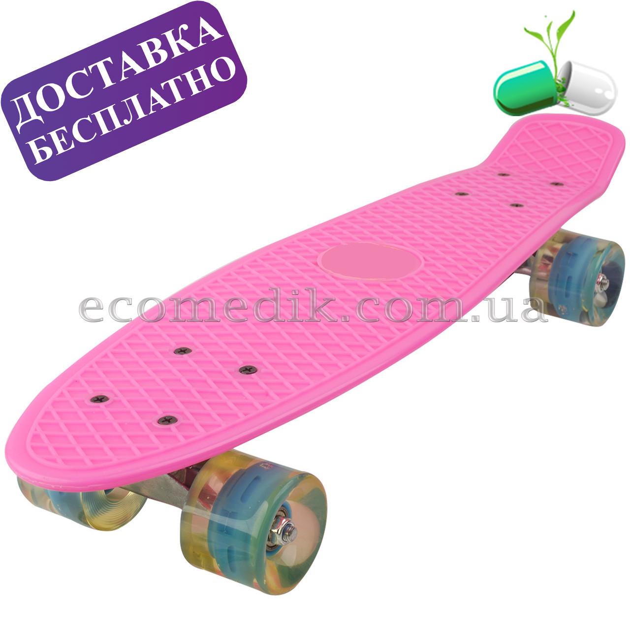 Ярко-розовый пенни борд со светящимися колесами penny board круизер