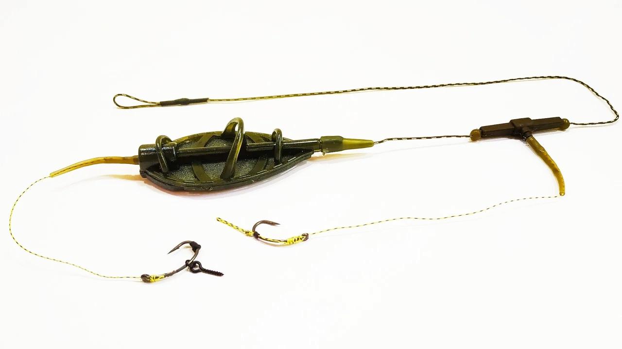 "Рыболовная кормушка на карпа в сборе ""Pop-Ups + боил"" с 2 крючками Метод ""Flat Feeder XL"" , вес 50 грамм"