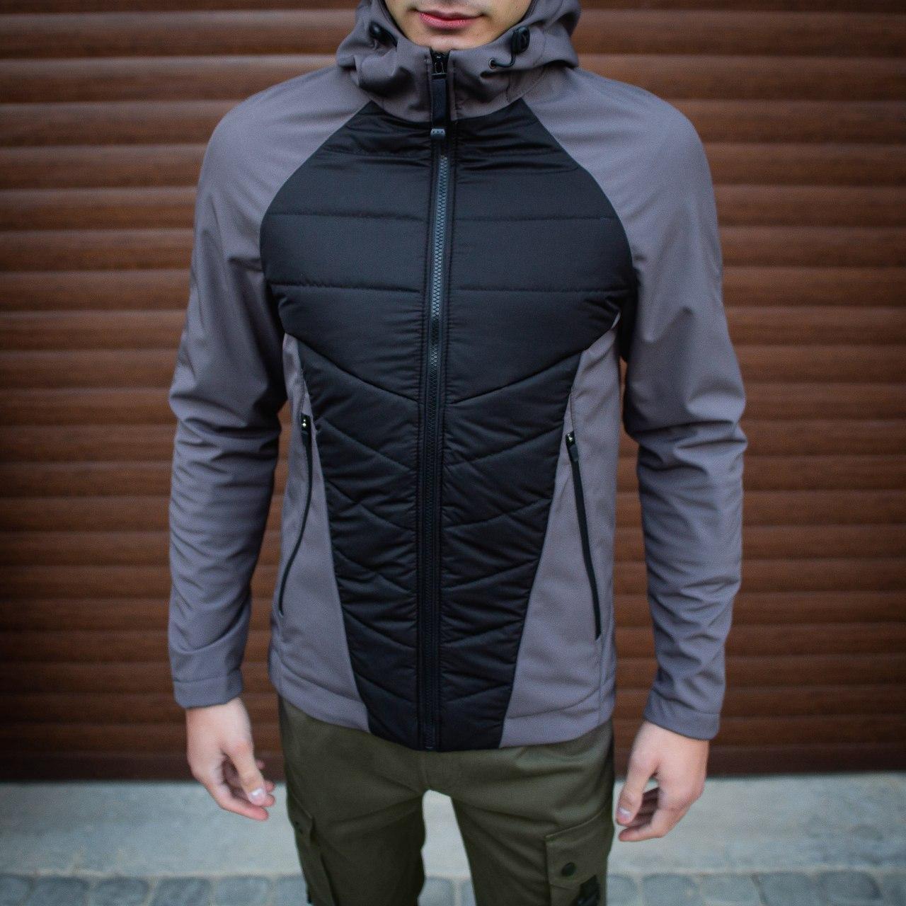 Мужская куртка Rafael (серо-черная)