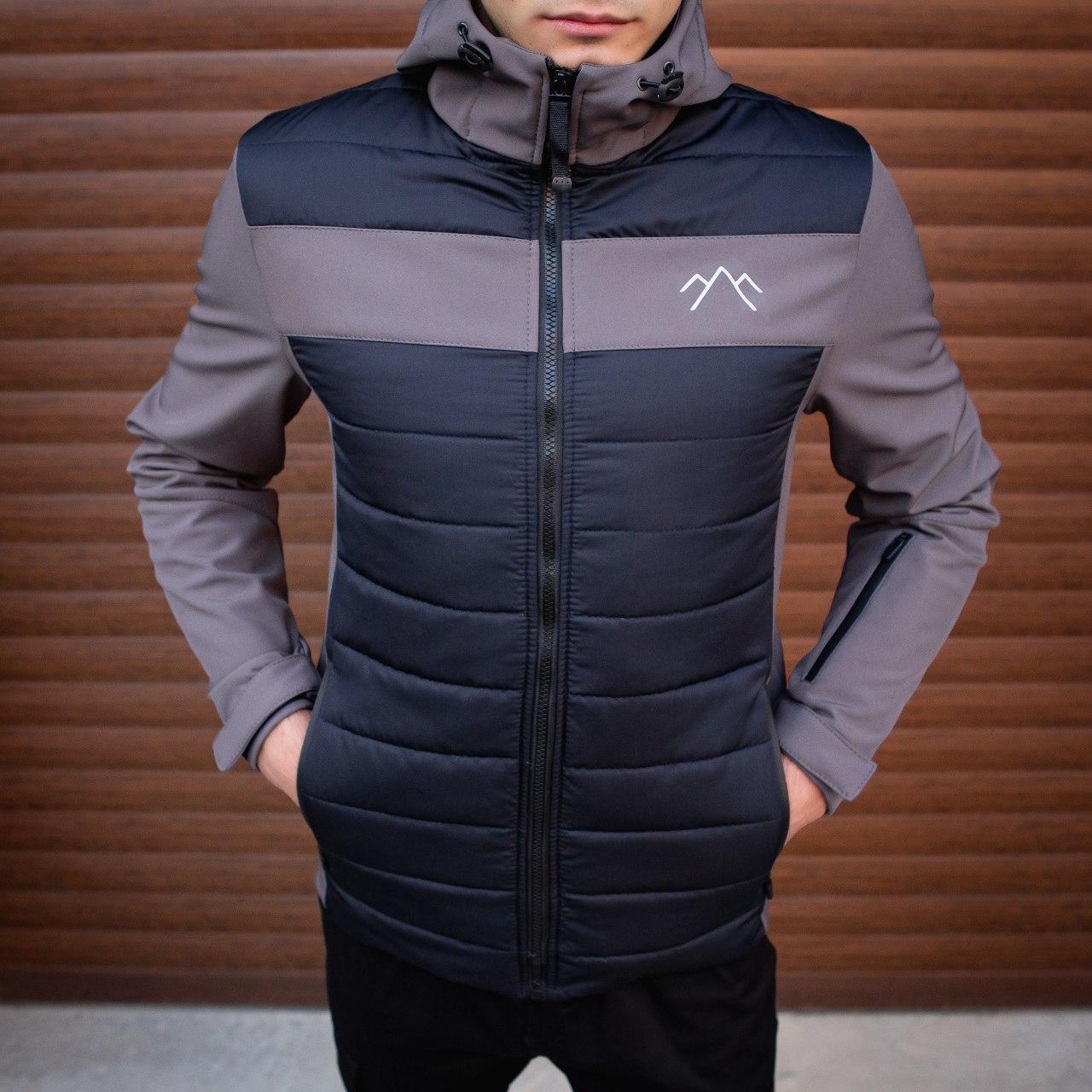 Мужская куртка Harvest (синяя с серой вставкой)S M L XL