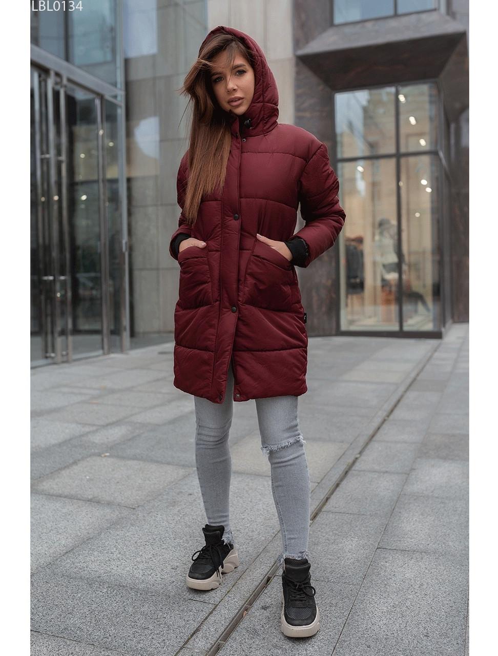 Женская зимняя куртка Staff OM long bordo. [Размеры в наличии: S,L]