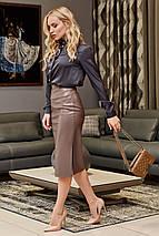 Молодежная кожанная юбка-карандаш по колено   SEV-1612.4368, фото 2