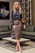 Молодежная кожанная юбка-карандаш по колено   SEV-1612.4368, фото 3
