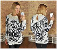 Женский красивый свитер-туника с кружевным воротником Турция (2 цвета)