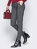 Темно-серые брюки с поясом на резинке и косыми карманами по бокам, фото 3