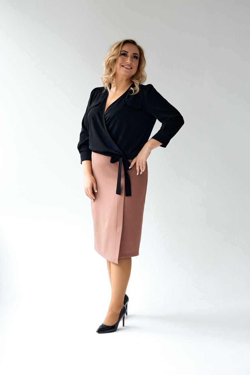 Элегантная черная торжественная блуза из мокрого шелка 48, 50, 52, 54