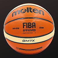 Баскетбольный мяч 7 размер для улицы и зала профессиональный MOLTEN МОЛТЕН FIBA Полиуретан Оранжевый (BGM7X), фото 1