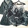 Бархатный набор Халат + майка + шорты + штаны, фото 7