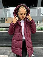 Стильная зимняя тёплая женская длинная куртка зефирка бордовая 42 44 46 48 50