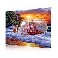"""Картина по номерам Lesko DIY RSB8446 """"Корабль в бутылке"""" 40-50см набор для творчества живопись"""
