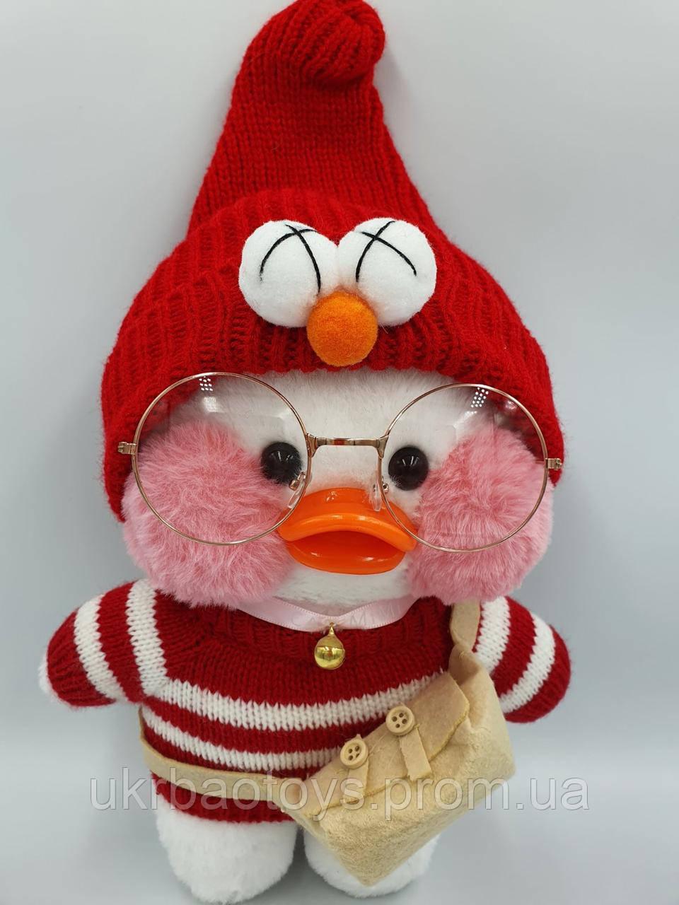 """Мягкая игрушка уточка """"Сafe-mimi duck в красном свитере и шапочке"""" 30 см."""