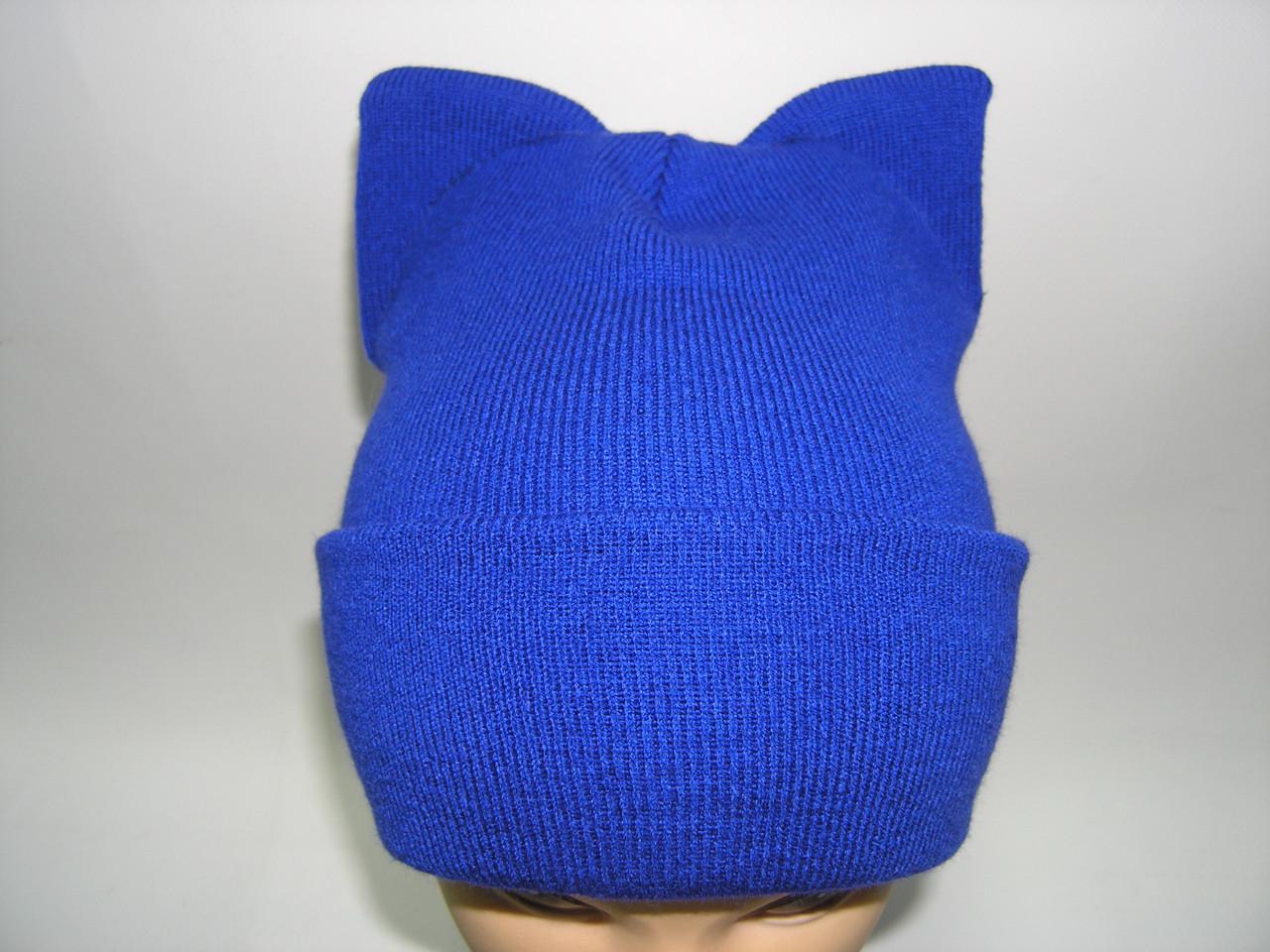 Шапка c ушками ярко - синяя