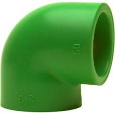 Уголок под 90 град, PP-R, D = 63 мм, зеленый