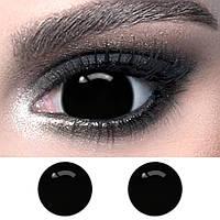 Чорні контактні лінзи міні-склери ELITE Lens Fullblack 16 мм. (видимість як в сонцезахисних окулярах)