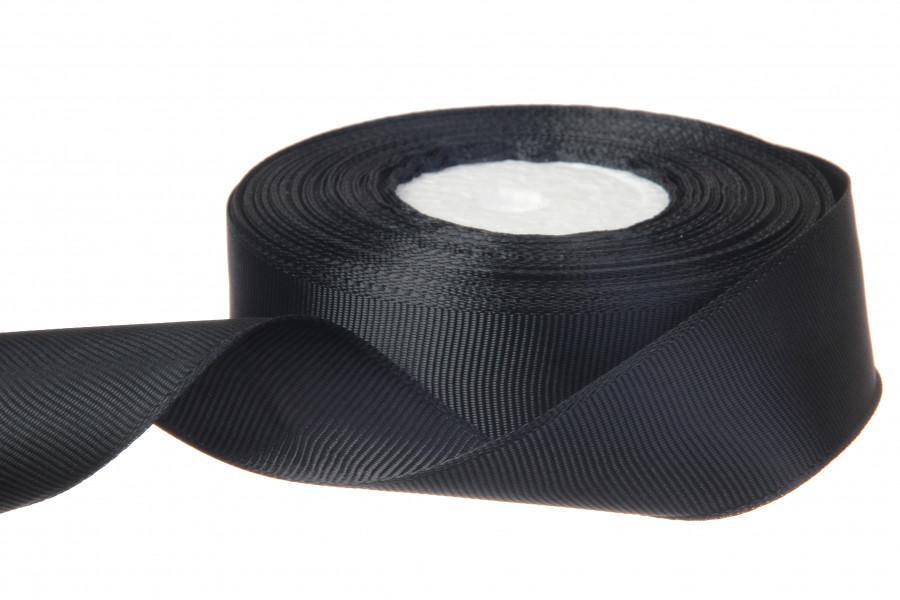 Репс однотонный бобина. Цвет черный.  Ширина 2.5 см, 18 м