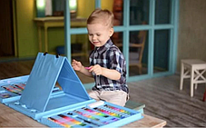 Детский набор для творчества и рисования 208 предметов (blue) с мольбертом Набор для творчества в кейсе., фото 3