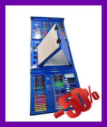 Детский набор для творчества и рисования 208 предметов (blue) с мольбертом Набор для творчества в кейсе., фото 2