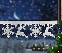 Новогодний декор на окно олени и снежинки из пенопласта 60 х 18 см