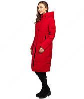 Длинная зимняя женская куртка красного цвета последний размер XL