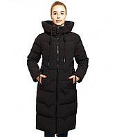 Длинная зимняя женская куртка черного цвета, последний размер 3XL