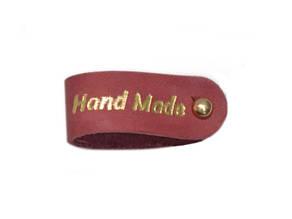 Бирка кожаная Hand made 1.5х9 темно-розовая золотая фольга к/к