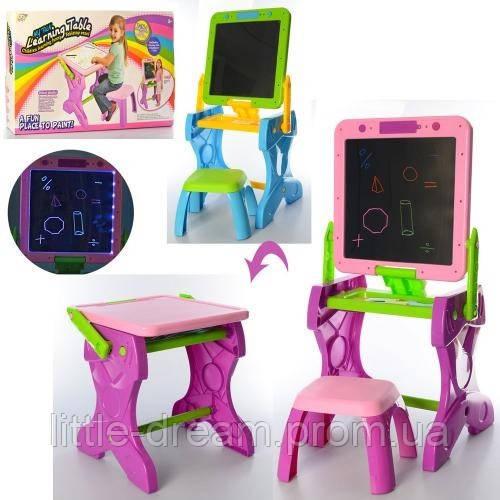 Мольберт для рисования столик со стульчиком 2в1 YM881-882 с подсветкой (2 цвета)