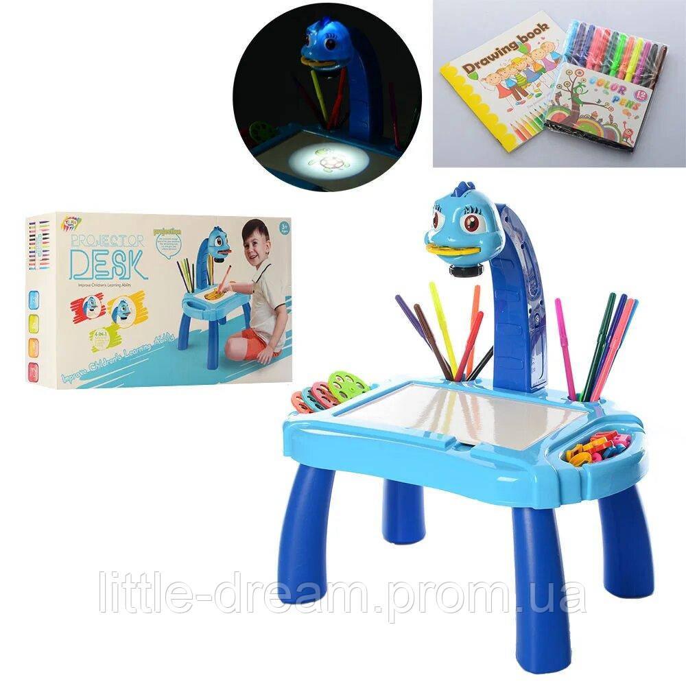 Детский проектор мольберт YM2442 3 в 1 40 слайдов, маркеры, губка, мел, музыка, свет