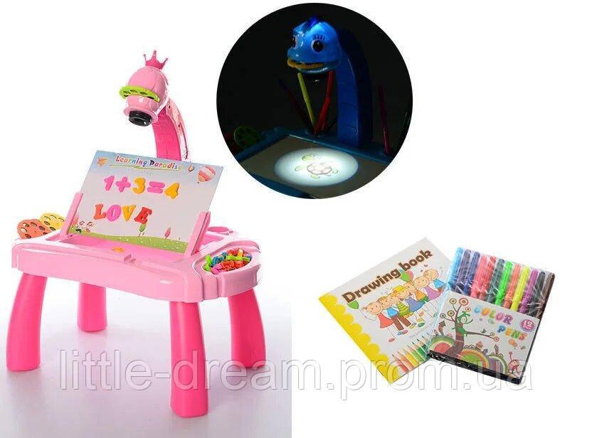 Детский мольберт YM2332 3 в 1 столик, проектор, слайды, маркеры, губка, мел, музыка, свет