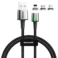 USB Cable Baseus Zinc Magnetic Kit 3in1 (Lightning/MicroUSB/Type-C) (TZCAXC-B01) Black 2m, фото 1
