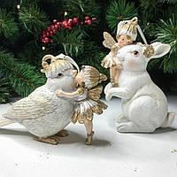 Підвісна декоративна фігурка Пташка з феєю , 2 види, колір - білий з золотом 10.8 см, фото 1