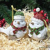 Новогоднее елочное украшение Птичка в шапке, 12см, 2 вида, фото 1
