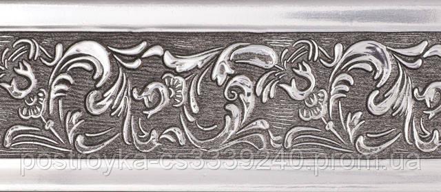 Лента декоративная на карниз, бленда Богемия 312 Серебро 70 мм на усиленный потолочный карниз КСМ