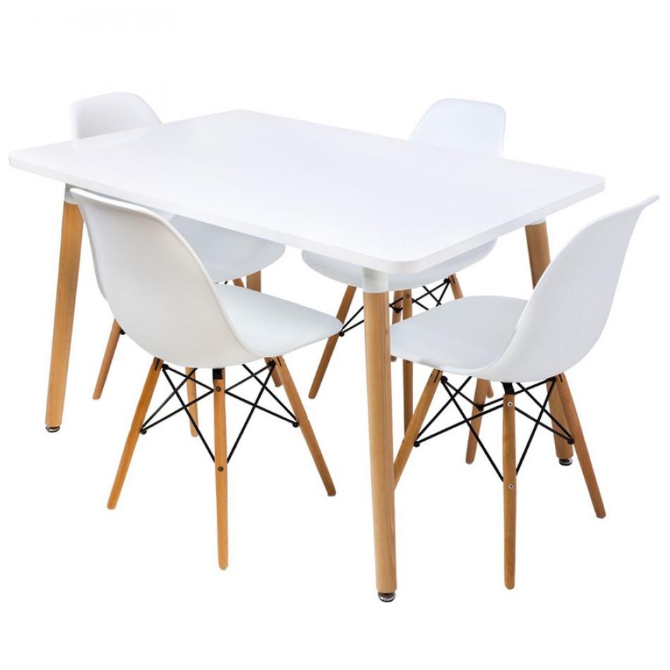 Столик кухонный обеденный Bonro В-950-1200 120х80х75 см + 4 белых кресла В-173