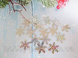 """Новогодний декор,  пайетки """"СНЕЖИНКА"""", цвет серебро (голограмма), 25х25 мм., 10 грамм, (~140шт)"""