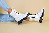 Ботинки женские кожаные белые на шнурках и с замком, зимние, фото 2