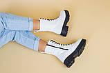 Ботинки женские кожаные белые на шнурках и с замком, зимние, фото 8