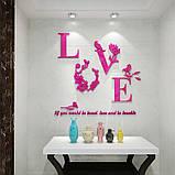"""Акриловая 3D наклейка """"Love"""" красная роза, фото 6"""