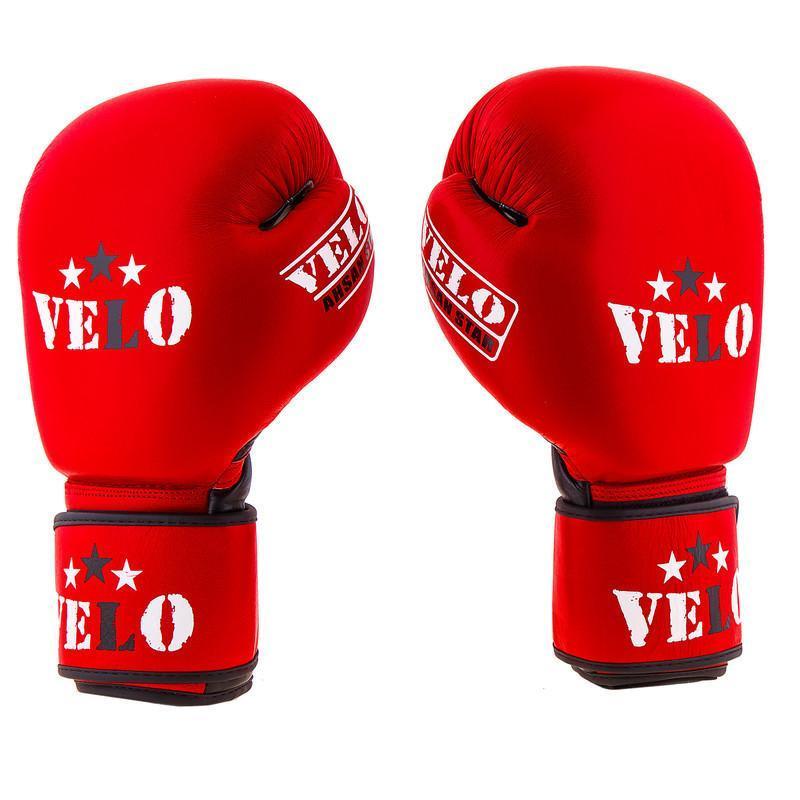Боксерские перчатки Velo AIBA, кожа, 10oz,12oz 10, Красный