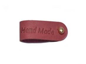 Бирка кожаная Hand made 1.5х9 темно-розовая золотой винт к/к