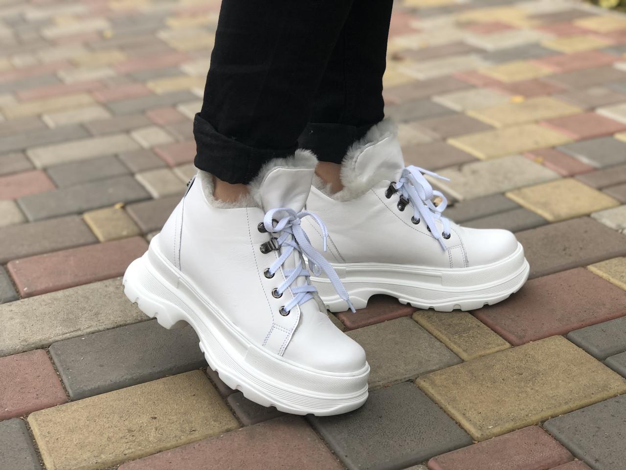 Женские кожаные ботинки Марини 2346 бел размеры 36,37,38,39,40,41