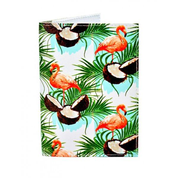 Обложка для паспорта Фламинго