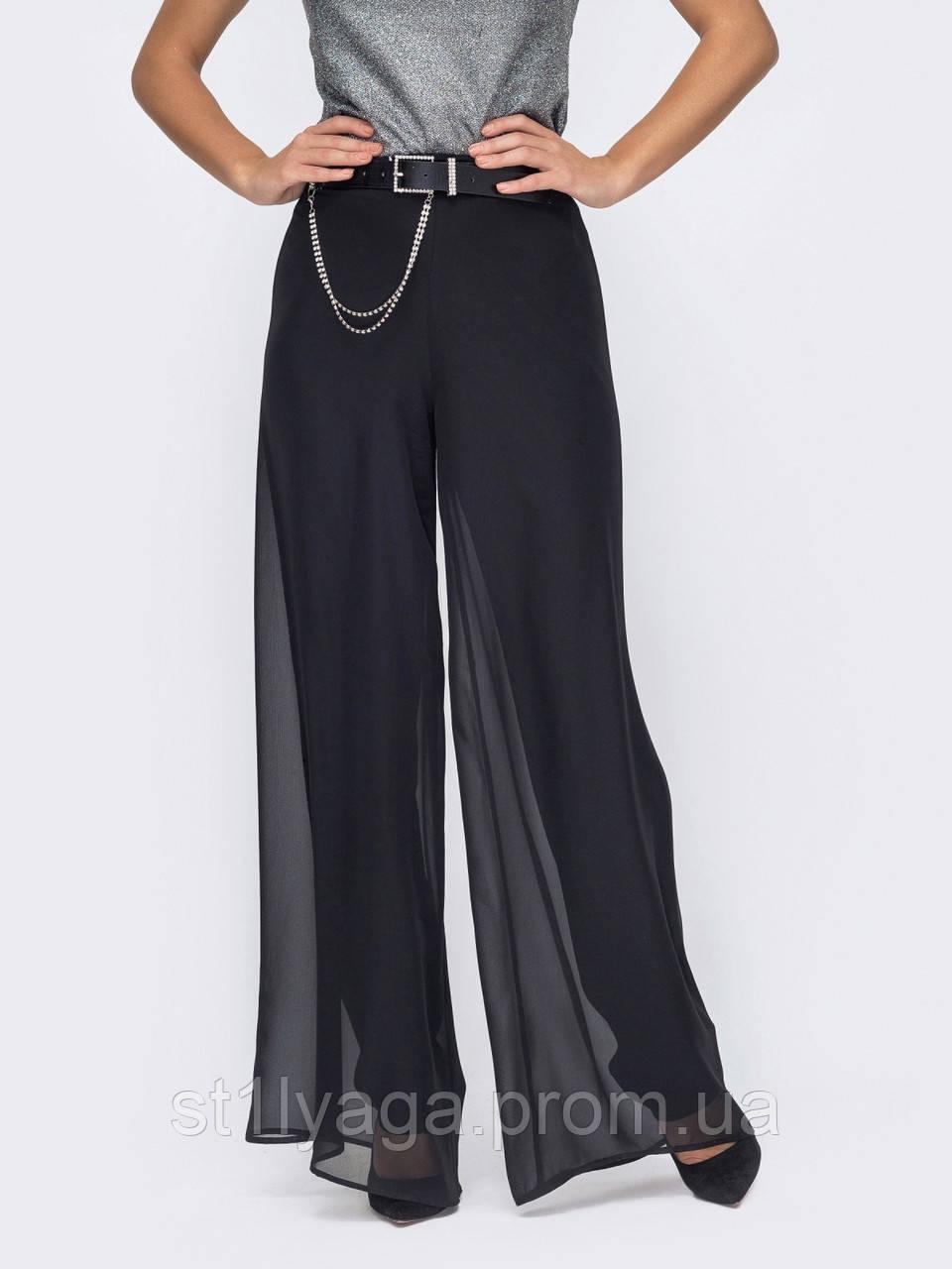 Чорні штани-палаццо з високою талією ЛІТО