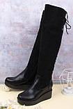 Женские сапоги / ботфорты черные ЕВРО ЗИМА на платформе 7 см эко-замш + кожа, фото 2