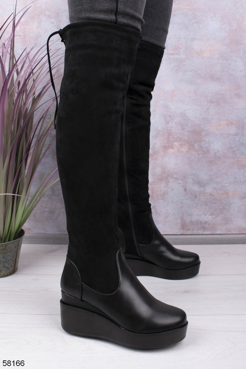 Женские сапоги / ботфорты черные ЕВРО ЗИМА на платформе 7 см эко-замш + кожа