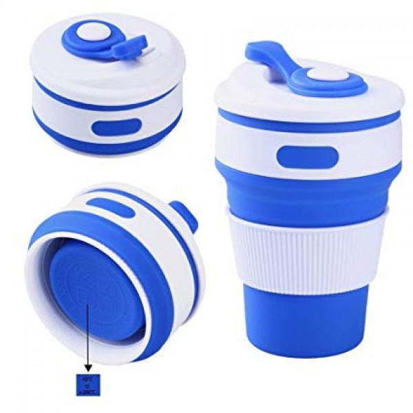 Складная силиконовая чашка Collapsible. Синяя